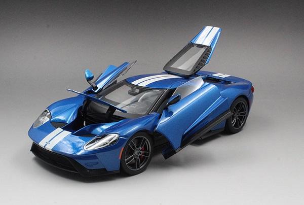 โมเดลรถ โมเดลรถเหล็ก โมเดลรถยนต์ Ford GT 2017 blue white 5