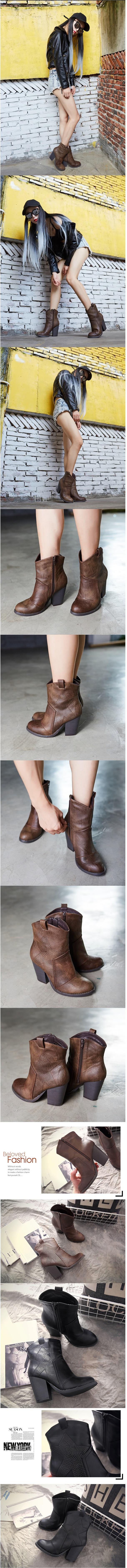 รองเท้าบูทมาร์ตินส้นสูงซิปข้าง