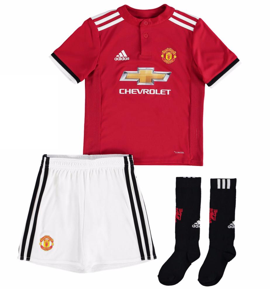 เสื้อแมนเชสเตอร์ ยูไนเต็ด 2017 2018 ทีมเหย้า สำหรับเด็กพร้อมถุงเท้าของแท้