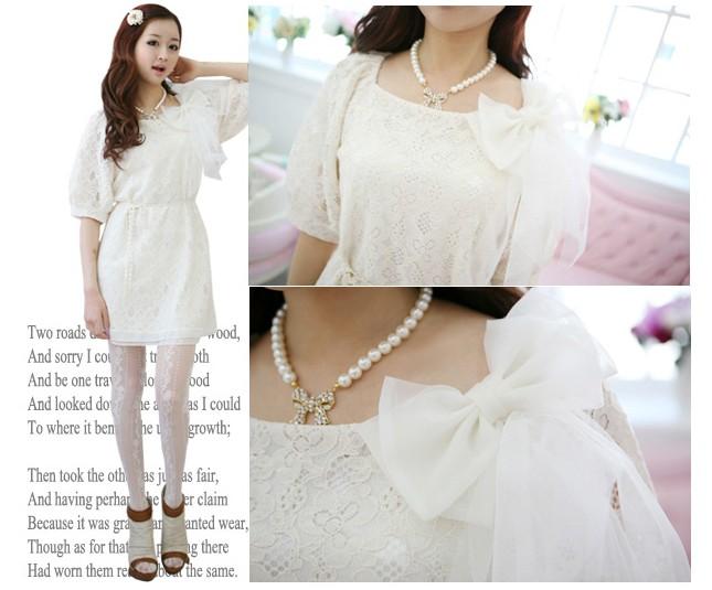 """""""พร้อมส่ง""""เสื้อผ้าแฟชั่นสไตล์เกาหลีราคาถูก Brand PINKDOLL เดรสสีขาวผ้าลูกไม้ทั้งชุด มีซับใน ติดโบว์ที่หน้าอก สวยค่ะ"""