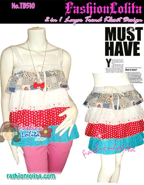 #หมด#ไม่ซ้ำใคร Cop Kloset สไตล์เกาหลีจ้าTB510::SweetDessertใหม่! เสื้อสายเดี่ยวขนมชั้นสีหวานน่ารักมากผ้าสลับลายกับผ้าลูกไม้ฉลุ ใส่เป็นกระโปรงท่อนได้ B