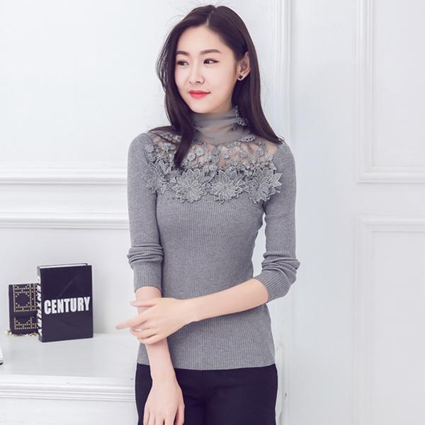 เสื้อยืดผ้าฝ้ายถักไซส์ใหญ่ แขนยาว คอเต่า(ชีฟองแก้ว) สีเทา/สีดำ/สีชมพู (2XL,3XL,4XL,5XL)