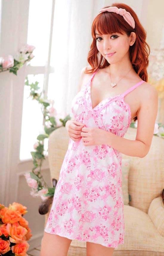 ชุดนอนซีทรูเซ็กซี่น่ารักสีขาวลายดอกไม้สีชมพู