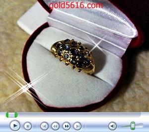 แหวนเพชรซีกสามแถวเล็ก ทอง2microns