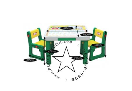 PGJM-807-1 โต๊ะนักเรียน ABC พร้อม 2 เก้าอี้ เซ็ตใหญ่