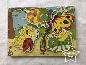 PS-1061 ร้อยเชือกรูปภาพพร้อมเชือกในชุด (ชุดแมลงน่ารัก)