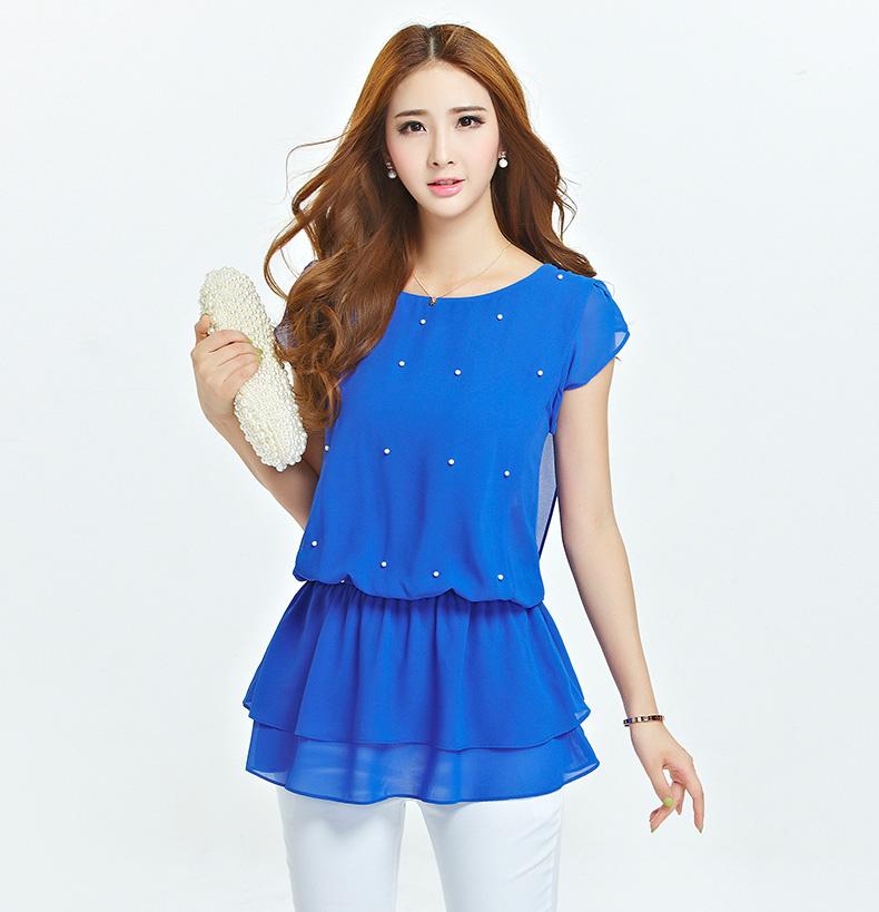 เสื้อชีฟองสีน้ำเงิน แขนค้างคาว ตัวเสื้อแต่งลูกปัด เอวใส่ยางยืด ชายเสื้อซ้อน (XL,2XL,3XL,4XL,5XL) 18858