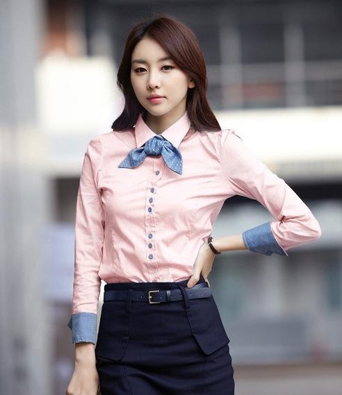 เสื้อเชิ้ตทำงานผู้หญิงแขนยาว สีชมพู แบบเรียบๆ