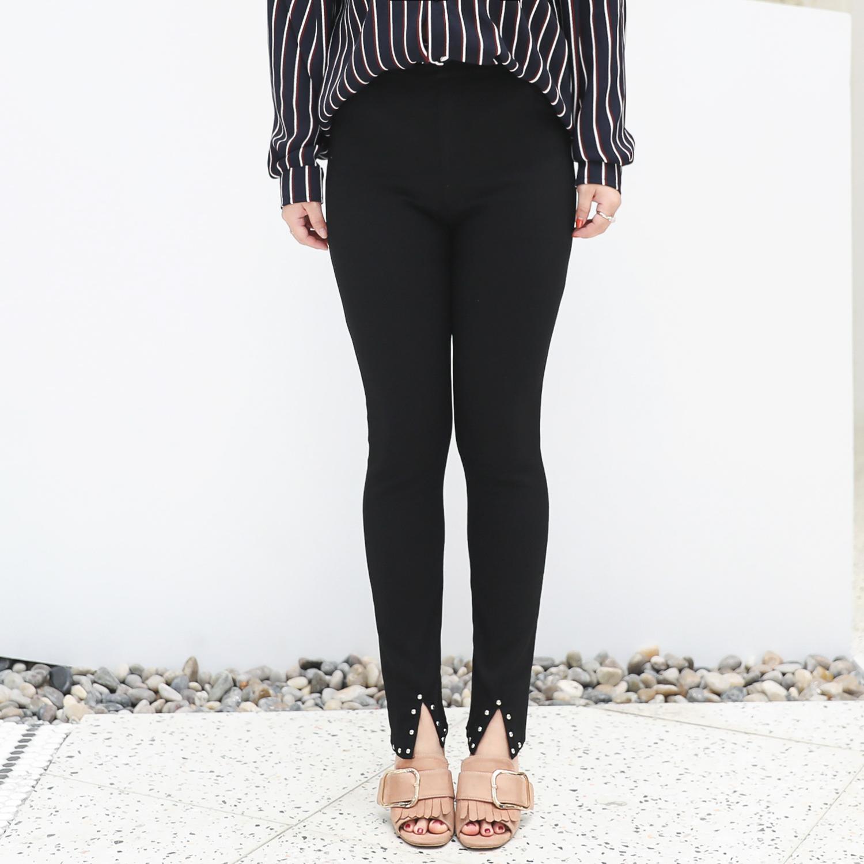 กางเกงยืดขายาวสีดำ ปลายขากรีดแต่งเพชร (XL,2XL,3XL,4XL) YK025