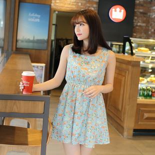 """""""พร้อมส่ง""""เสื้อผ้าแฟชั่นสไตล์เกาหลีราคาถูก เดรสสีเขียว แขนกุด ลายดอกไม้ จั๊มเอว มีซับใน"""