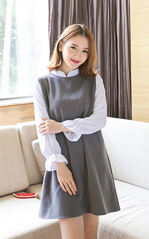 """size M""""พร้อมส่ง""""เสื้อผ้าแฟชั่นสไตล์เกาหลีราคาถูก เดรสเกาหลี เดรสสีเทาผ้าฝ้ายต่แขนชีฟองสีขาวแขนยาว จั๊มปลายแขน ซิปหลัง ไม่มีซับใน สวยค่ะ -size M"""