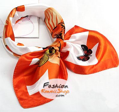 ผ้าพันคอ ผ้าคาดผมเนื้อไหมญี่ปุ่น : สีส้มลายผีเสื้อ MJ0023