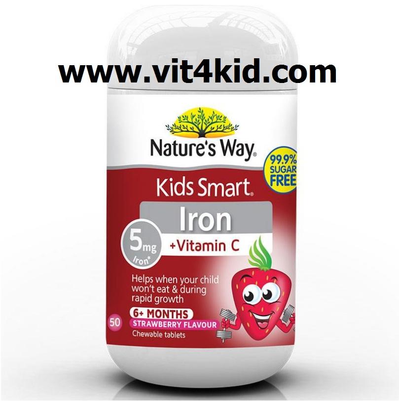 Natures way IRON+C50mg เพิ่มพลังงาน, สร้างเม็ดเลือดแดง, ช่วยฟื้นฟูสุขภาพ สำหรับเด็กกำลังโต 50เม็ดเคี้ยว รสสตอเบอรี่ (สินค้าใหม่ exp.03/2021)