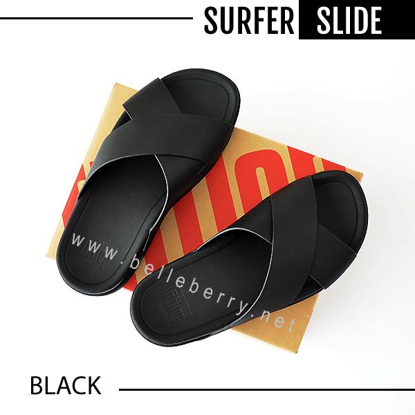 * NEW 2018 * FitFlop : Surfer Leather Slide : Black : Size US 8 / EU 41