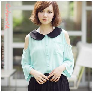 """""""พร้อมส่งค่ะ""""เสื้อผ้าแฟชั่นสไตล์เกาหลีราคาถูก Brand Catworld เสื้อเชิ้ตชีฟองปกดำ กระดุมหน้า แขน4ส่วน เว้าไหล่ สีเขียว"""