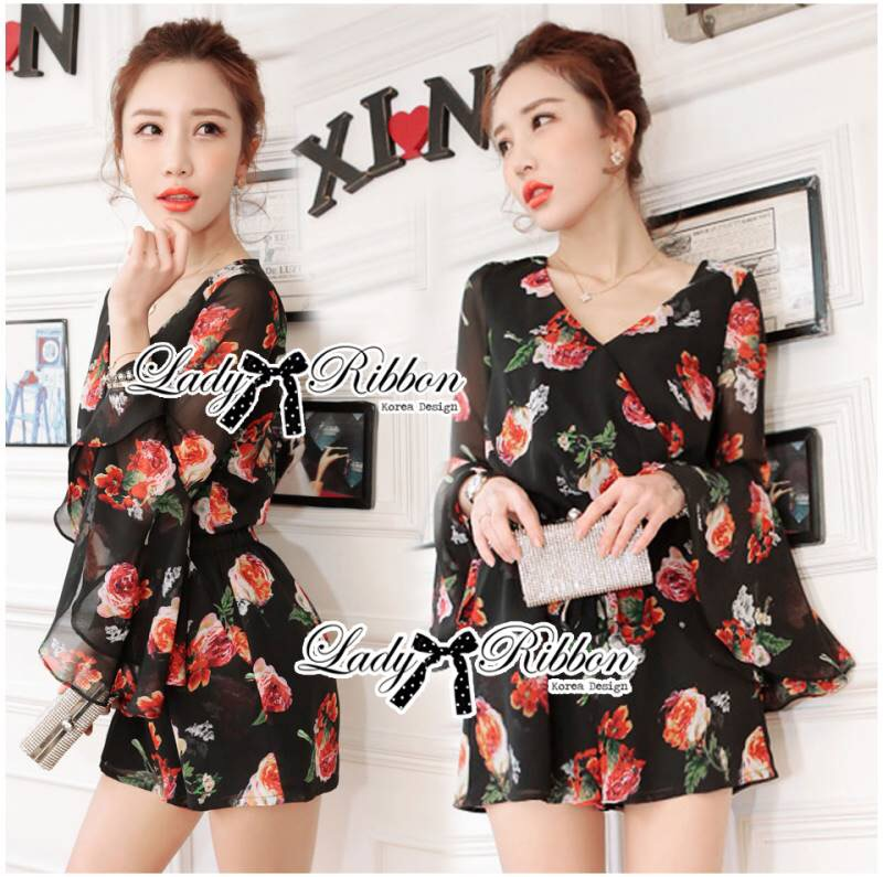 Lady Ribbon's Made Lady Carley Spring Floral Printed Jumpsuit
