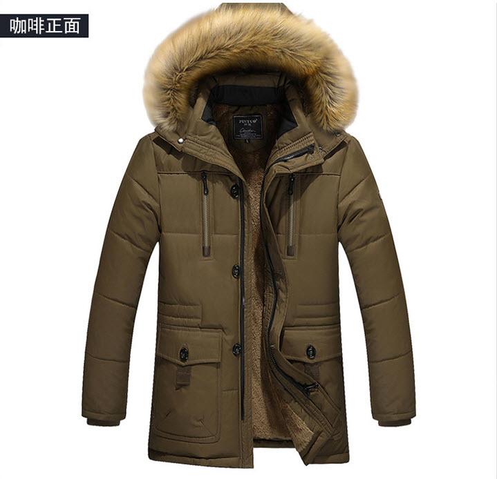 เสื้อโค้ทผู้ชาย สีเขียว มีฮู้ด(ถอดออกได้) แต่งขนเฟลอ(ถอดออกได้) ซิปหน้า ปิดด้วยกระดุมอีกชั้น กระเป๋าข้างใช้งานได้ แต่งกระเป๋าหลอกที่หน้าอก หนาอุ่น กันน้ำ ใส่ลุยหิมะ ใส่ไปต่างประเทศได้ เสื้อแจ็คเก็ตกันหนาวผู้ชาย