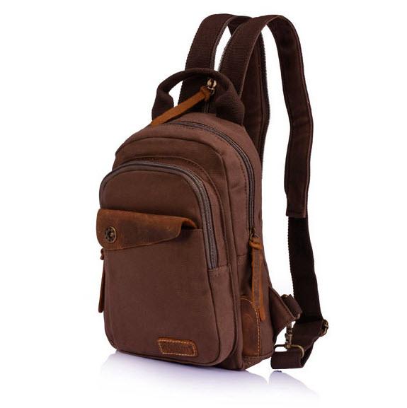 พร้อมส่ง สีกาแฟ กระเป๋าเป้สะพายหลัง ใบเล็ก ผ้าแคนวาส ปรับเป็นกระเป๋าคาดอกได้ ใบเท่ห์ สะพายไปเที่ยวเท่ห์ๆ