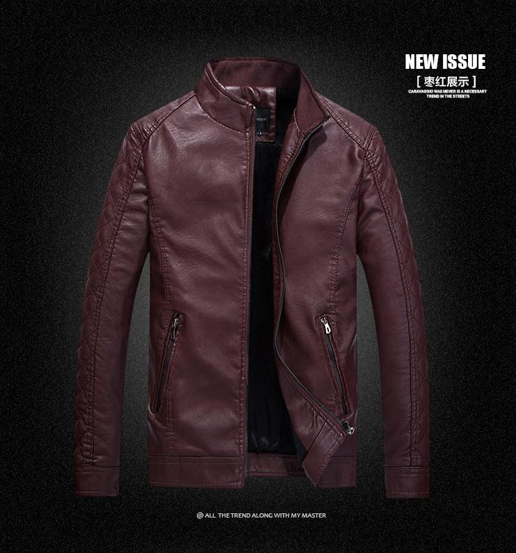 พร้อมส่ง เสื้อหนัง PU เสื้อแจ็คเก็ต สีแดงไวน์ คอจีน แขนยาว ซิปเต็มตัว แต่งลายตารางช่วงแขน