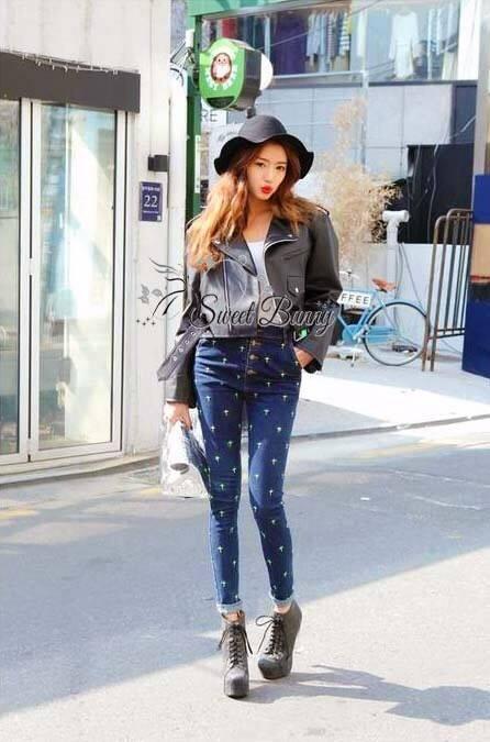 เสื้อผ้าเกาหลี พร้อมส่ง กางเกงยีนส์เกาหลี ใช้ผ้ายีนส์แท้ฟอกสีน้ำเงินสวย