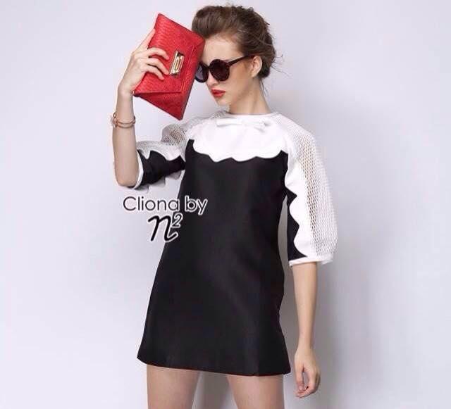 เสื้อผ้าเกาหลี พร้อมส่ง มินิเดรสตัวสั้น ลุค Modern