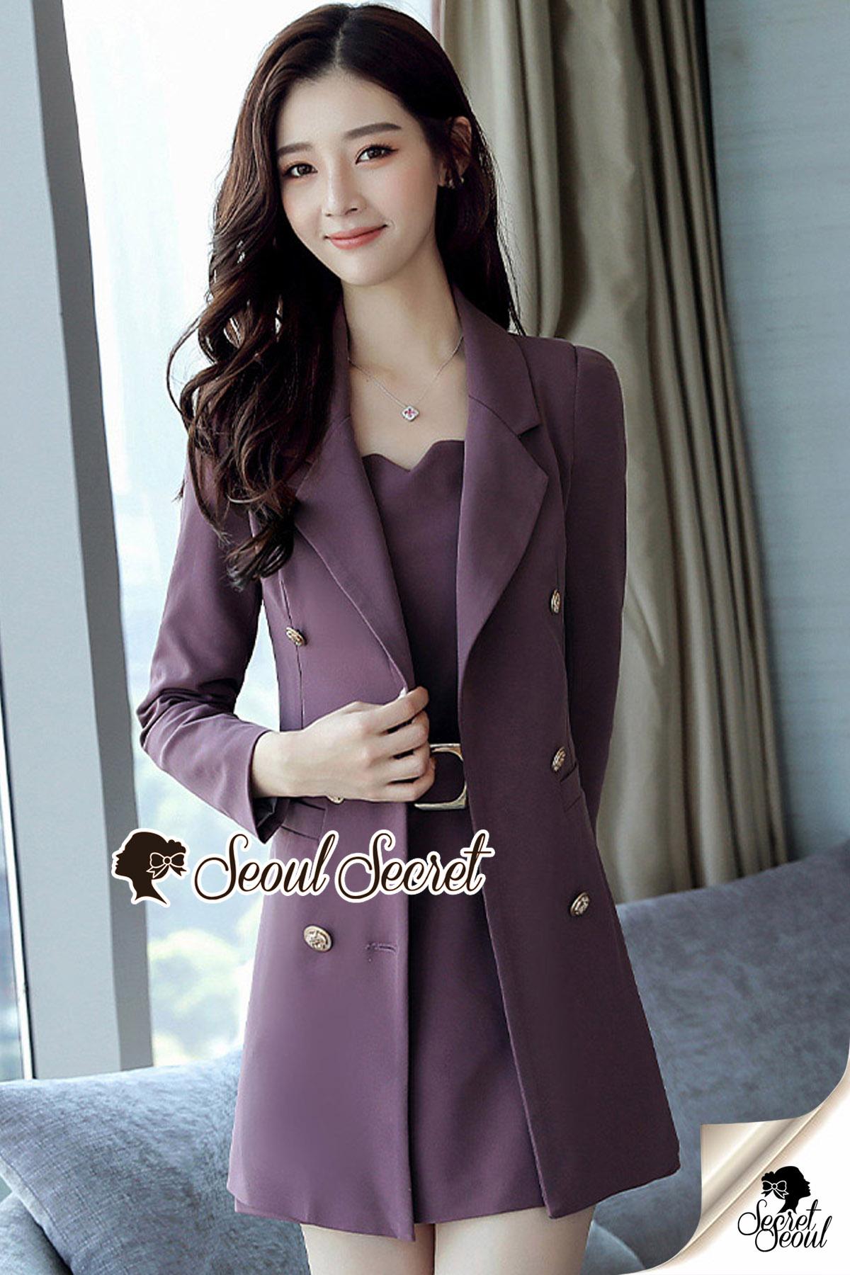 เสื้อผ้าเกาหลีพร้อมส่ง Chic Coral Pink&Black Cami Suite Set