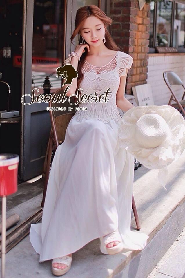 ( พร้อมส่งเสื้อผ้าเกาหลี) Korea Party Lux Long Maxi-Dress by Seoul Secret