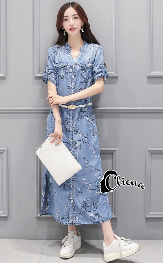 ชุดเดรสเกาหลี พร้อมส่งEmbroidered Floral Denim Dress
