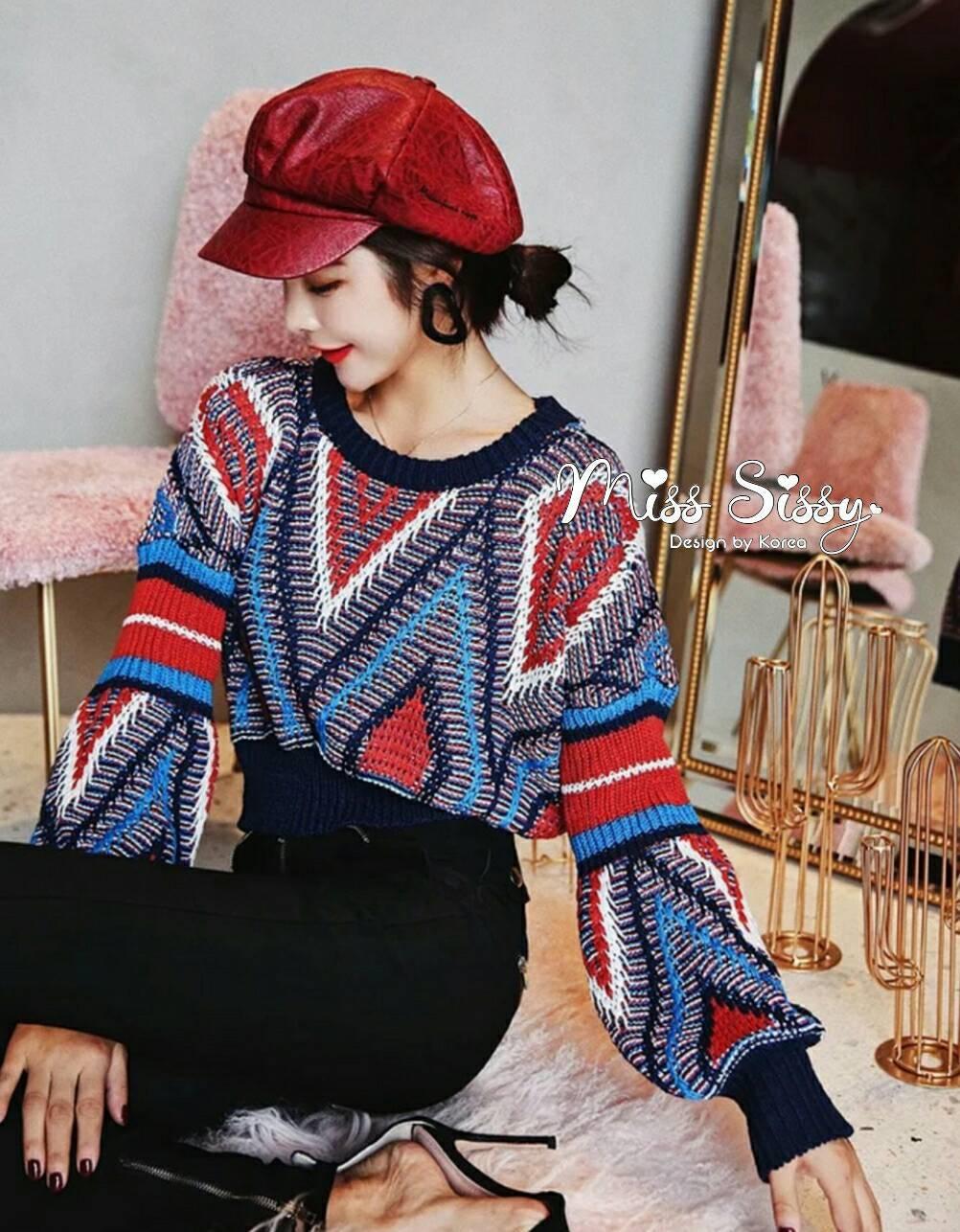 เสื้อผ้าเกาหลีพร้อมส่ง เสื้อหนาวไหมพรมสีสันสดใส ผ้านิ่มใส่สบายไม่ระคายเคืองผิว