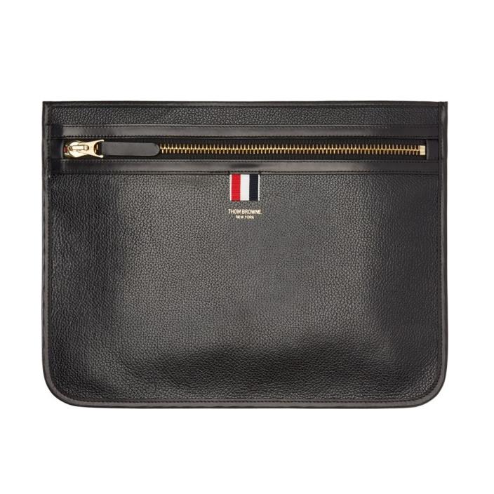 กระเป๋าหนังThom Browne Black Leather Document Wallet 1:1