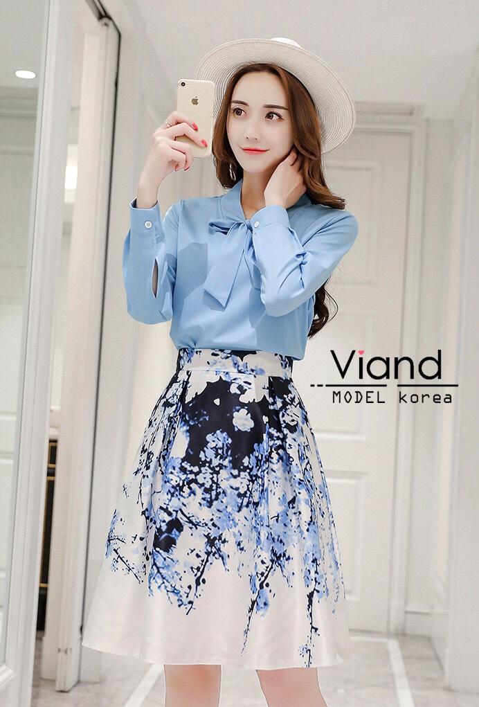 เสื้อผ้าเกาหลี เซ็ท 2 ชิ้นสุภาพ เสื้อ+กระโปรงเสื้อผ้าจอร์เจียร์ใส่สบายสุดๆ