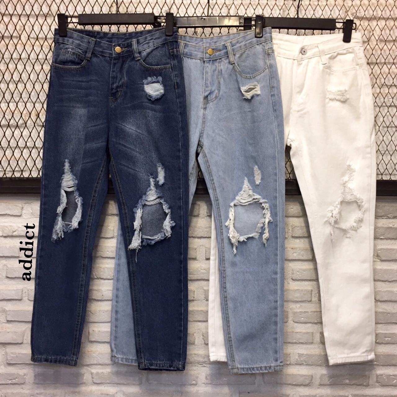 เสื้อผ้าแฟชั่นพร้อมส่ง กางเกงยีนส์ขายาว เอวสูง ทรงboy ขาดช่วงเข่า