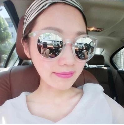 แว่นตากันแดดแฟชั่นเกาหลี กรอบขาวใสเลนส์ปรอทกระจก