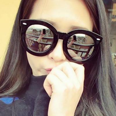 แว่นตากันแดดแฟชั่นเกาหลี กรอบดำมัน เลนส์ปรอทกระจก