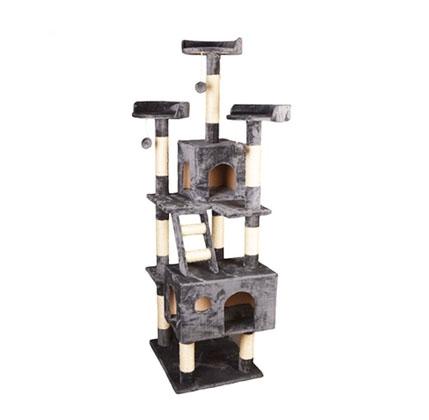 MU0208 คอนโดแมวห้าชั้น ต้นไม้แมว บ้านอุโมงค์ บันได มีของเล่นแขวน สูง 185 cm