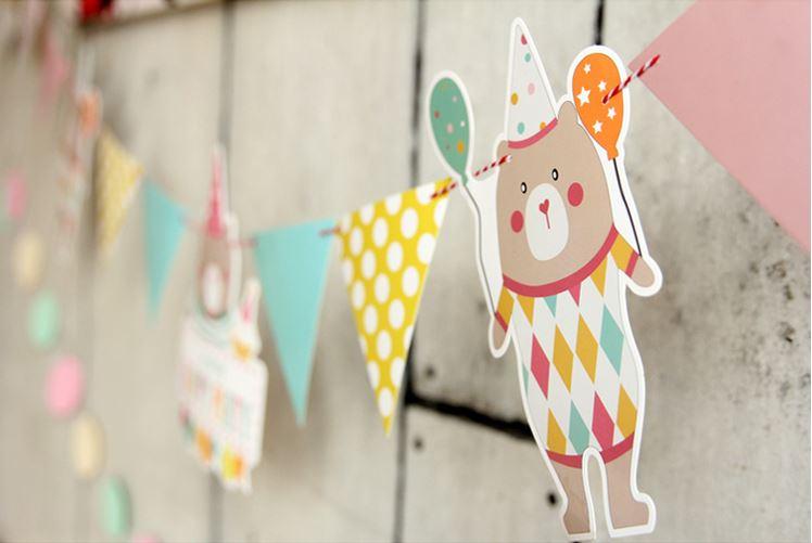 Party & Birthday Flag : ธงตกแต่งรูปหมีวันเกิด และธงสามเหลี่ยม