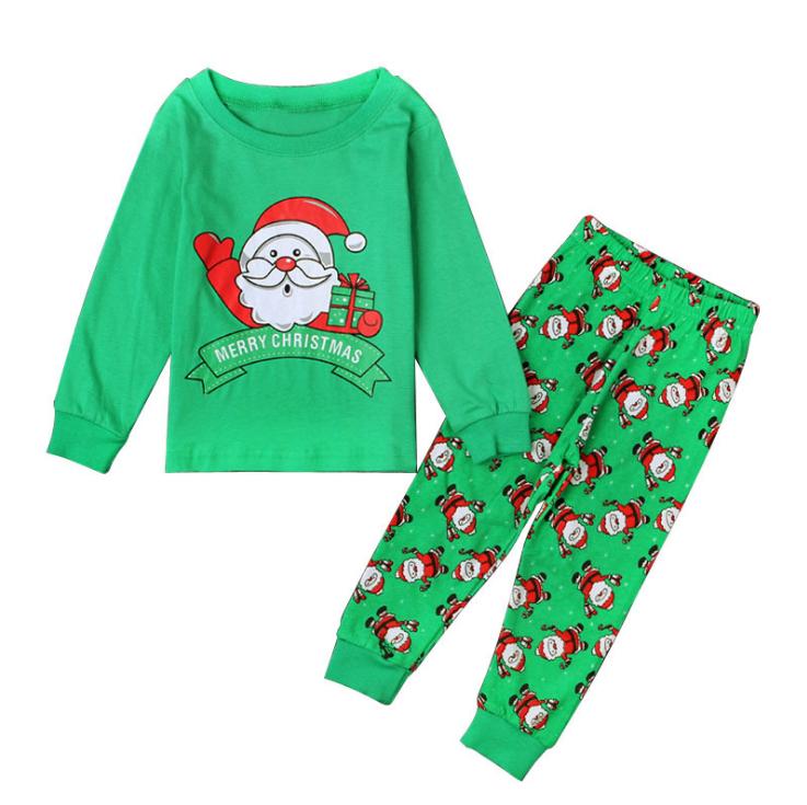 ชุดนอน ชุดใส่เล่น แขน/ขายาว ลายซานตาครอส สีเขียว