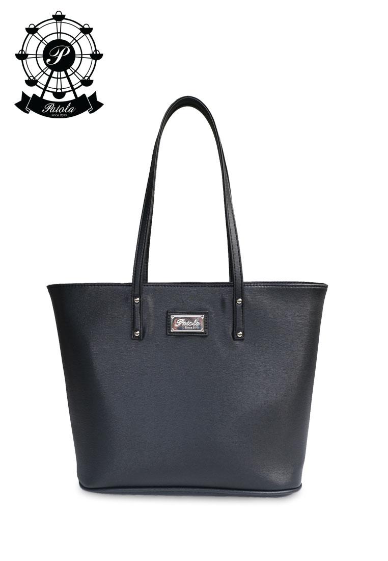 กระเป๋า Patola รุ่น M totebag หนังpu ลายเปลือกไม้ สีดำ