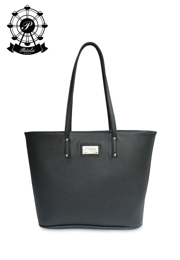 กระเป๋า Patola รุ่น M totebag หนังลิ้นจี่ สีดำ