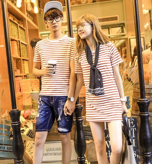 เดรสหญิง+เสื้อชาย มี 2 สี ลายขาวดำ กับ ลายขาวแดง สวยๆ
