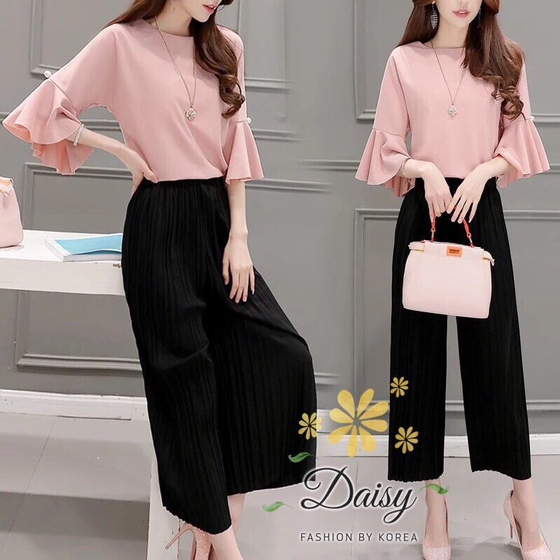 Daisy soft poly pearl pleat pink set