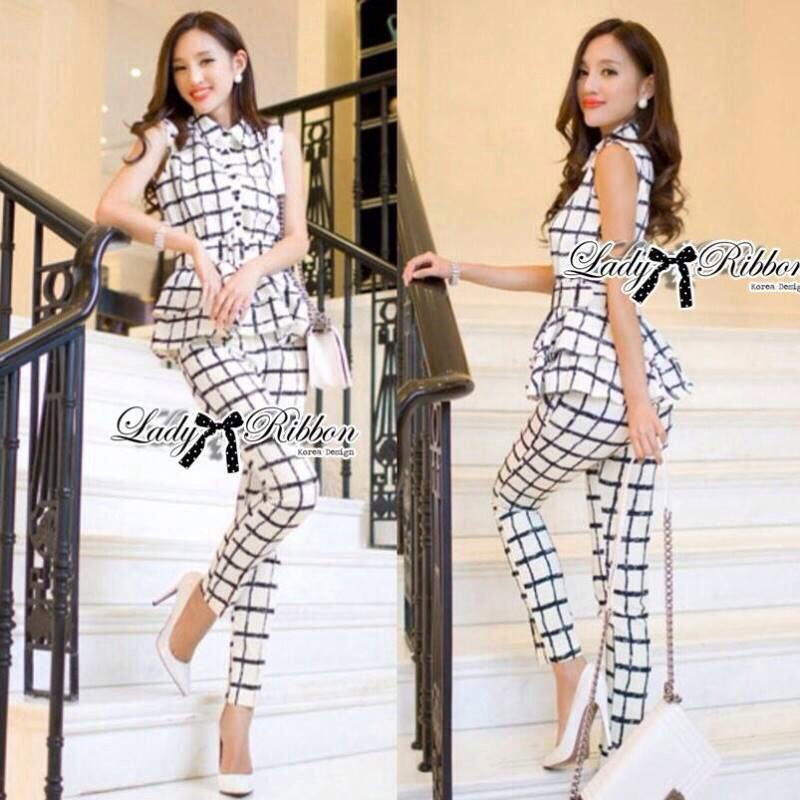 Lady Black&White Checkmate Trousers Set L134-69C01