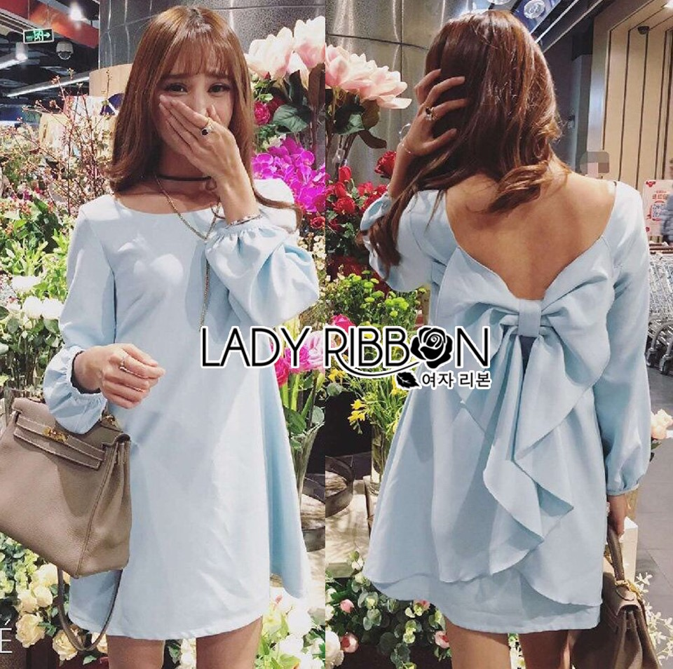 Lady Mila Sweet Minimal Back-Ribbon Baby Blue Dress L268-6919