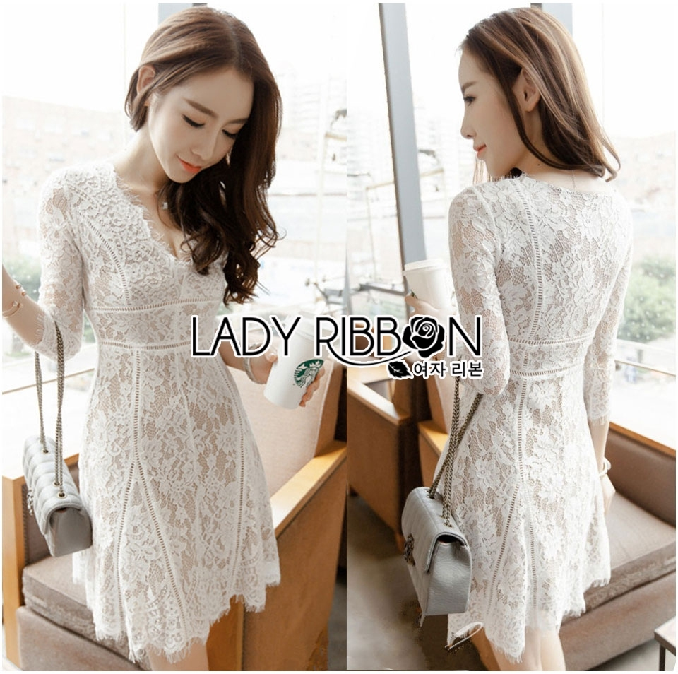 Lady Zoe Classy and Sexy All White Lace Dress L199-89C09