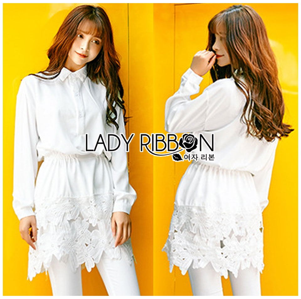 Lady Aurelie Minimal Chic Cotton Long Shirt with Lace Trim L247-69C06