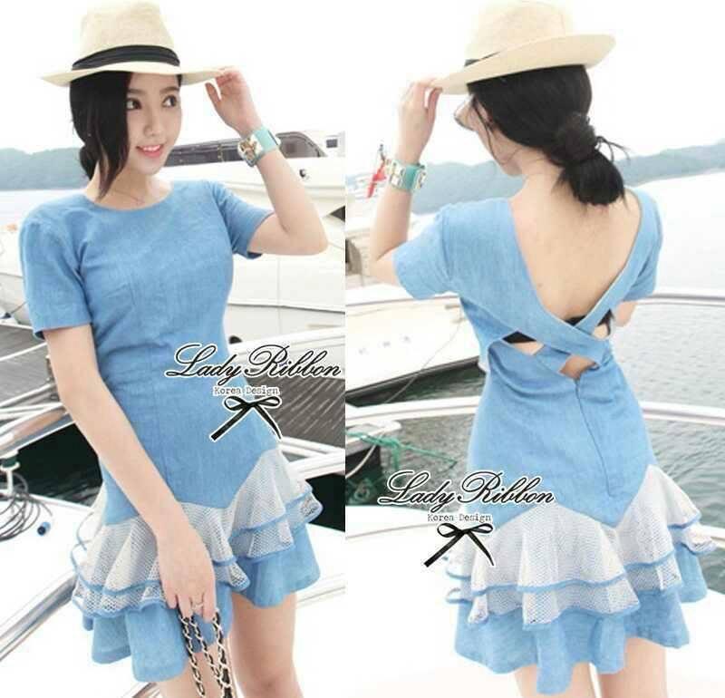 DR-LR-039 Emma Denim Layer Trim Mini dress