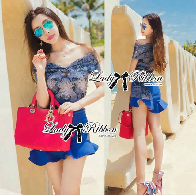 Lady Christina Sexy Off-Shoulder Crop Top and Ruffle Skirt Set L127-85C01