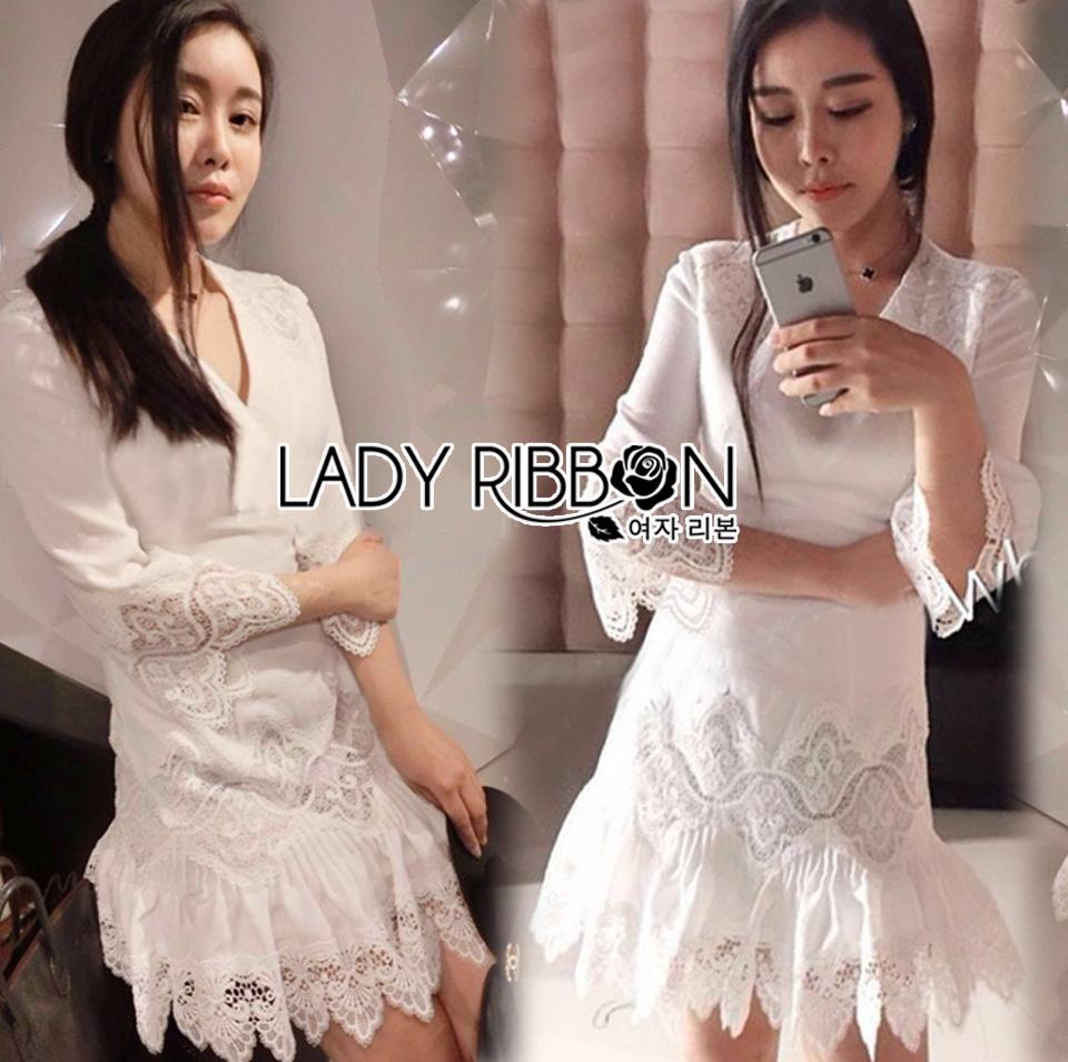 Lady Eva Classic White Polyester and Lace Ruffle Dress L250-79B02