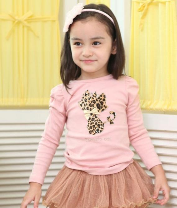 เสื้อสีชมพู แขนตุ๊กตา ลายแมว ไซด์ 90-100-110-120