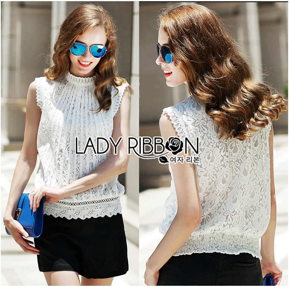 Lady Anna Classic Vintage High-Neck Lace Blouse L266-6914